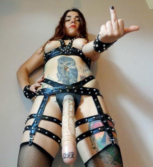 mature mistress straps on dildo for sissies