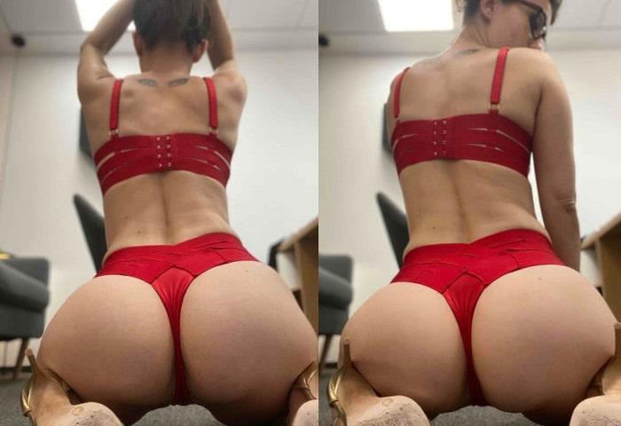 hot ass fetish mistress posing in red thong & bra