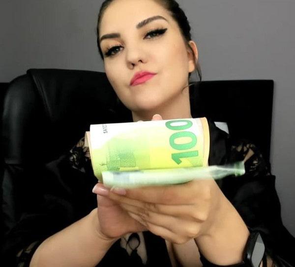 bratty mistress flashing cash with sneer