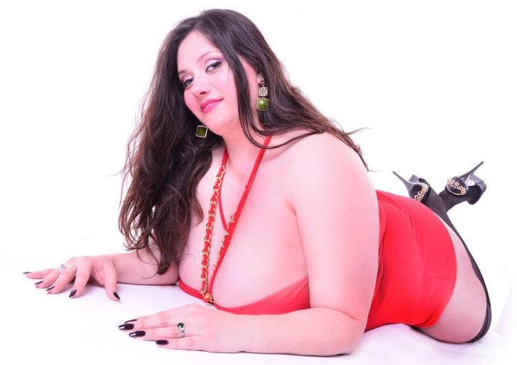 hot bbw mistress displays her huge ass in red dress