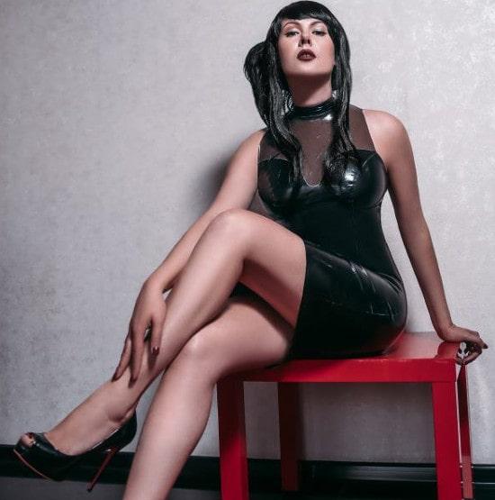 hot fetish mistress teasing latex dress