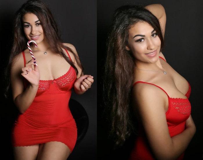 curvy fetish camgirl posing red nightie