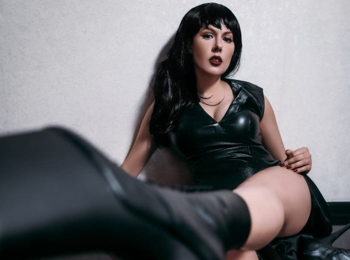 hot brunette fetish mistress teasing BDSM gear