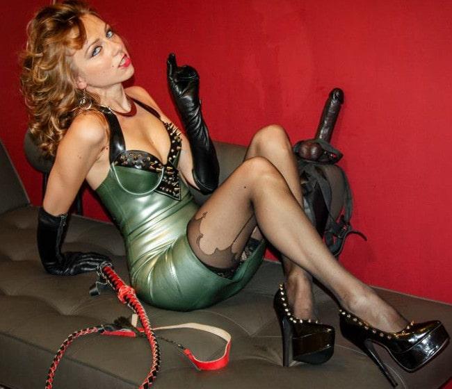 rubber mistress teasing latex dress & high heels