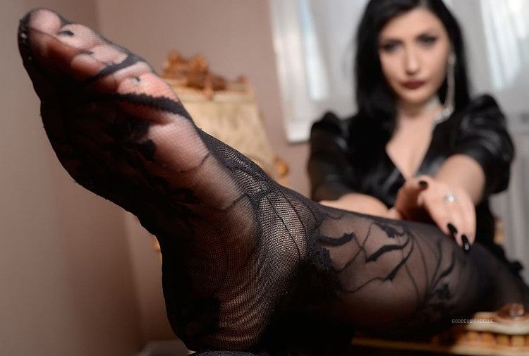 close up foot mistress in stockings