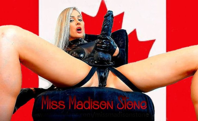 dominant blonde webcam domme wearing strapon dildo